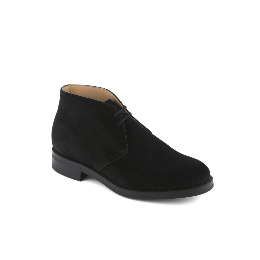 church s black suede ankle boot