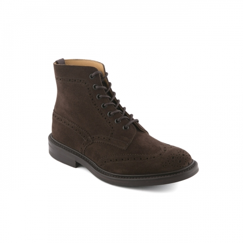 Stivaletto Tricker's in camoscio marrone caffe