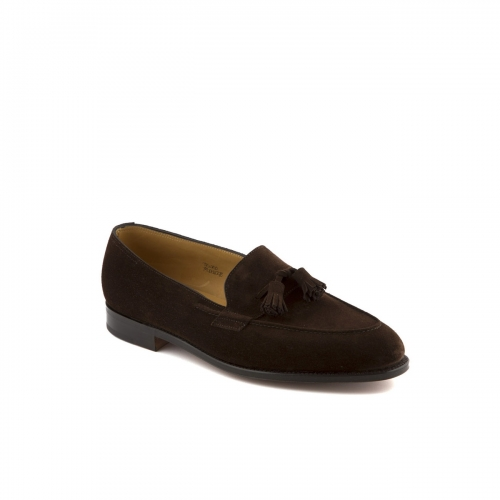 Mocassino John Lobb Truro in camoscio marrone scuro