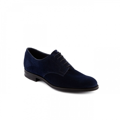 Scarpa stringata Edward Green Winford in camoscio indigo