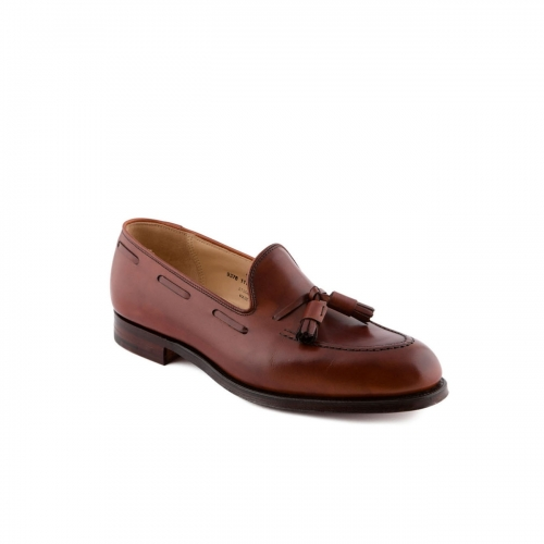 Mocassino Crockett & Jones Cavendish in pelle chestnut burnished con nappine