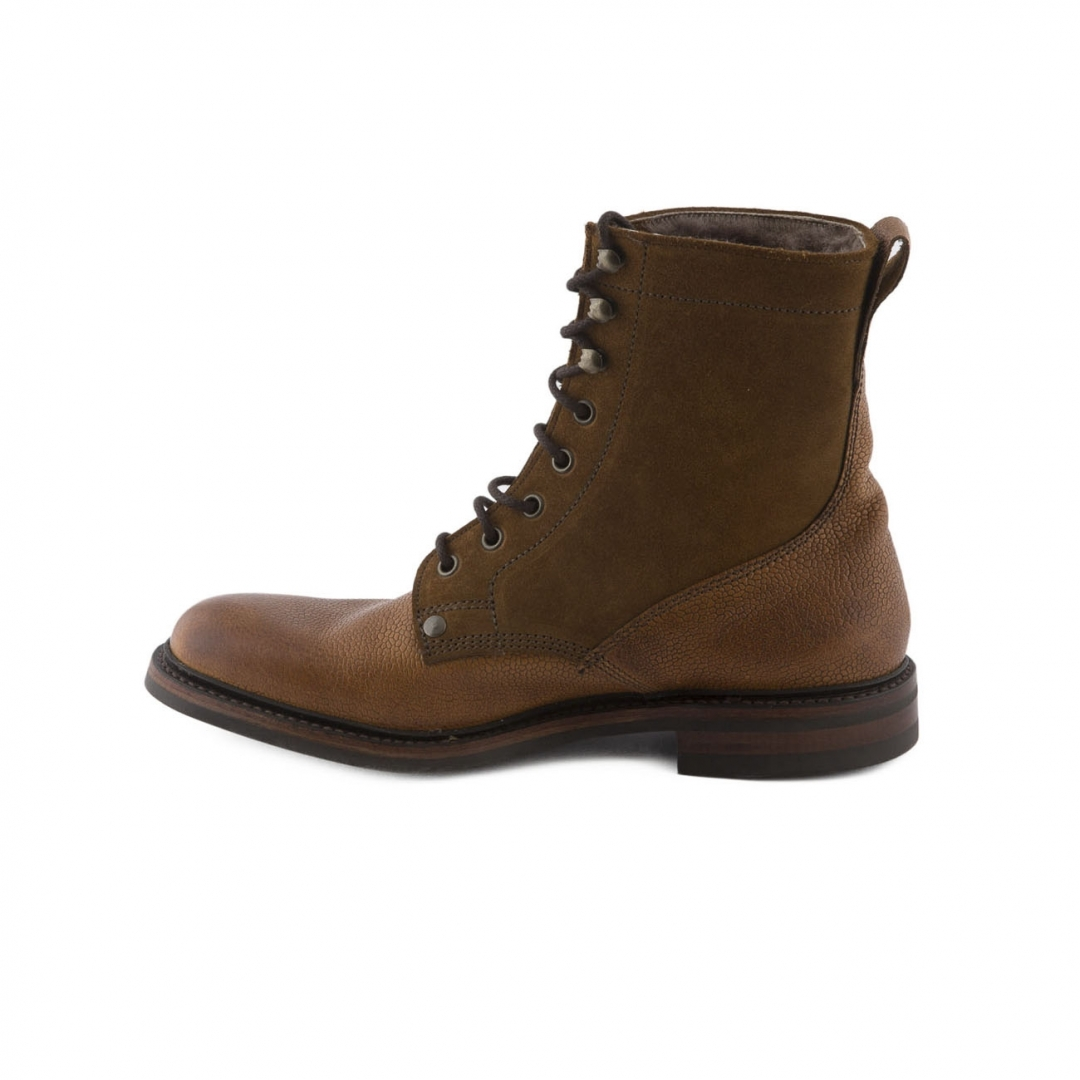 boot lace up cheaney almond grain leather and