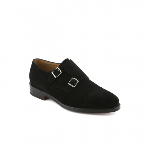 Scarpa John Lobb William fit F in camoscio nero con doppia fibbia