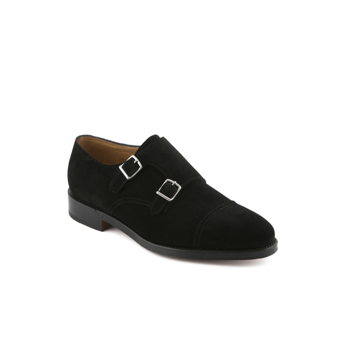 Shoe John Lobb William fit F in black suede with double buckle