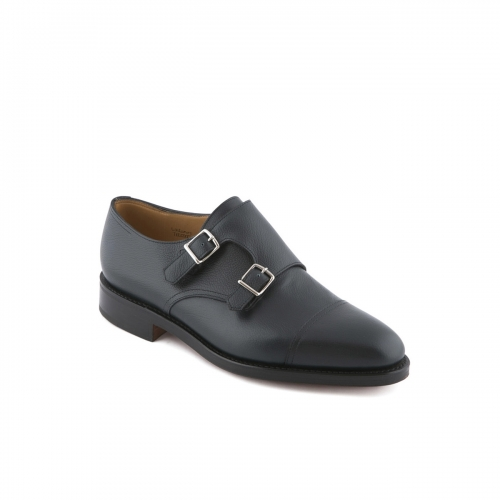 Scarpa John Lobb William in pelle blu con doppia fibbia