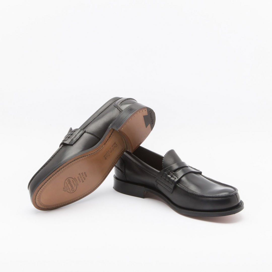 e88bf89aab2 ... Church s Pembrey penny loafer with gimped tongue in black prestige  leather