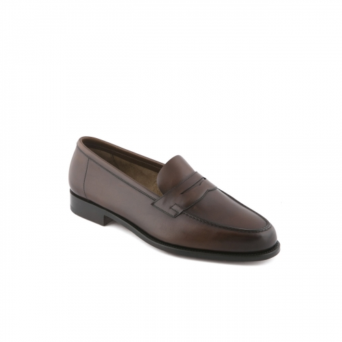 Edward Green Duke penny loafer with tassel in Dark Oak Antique calf leather