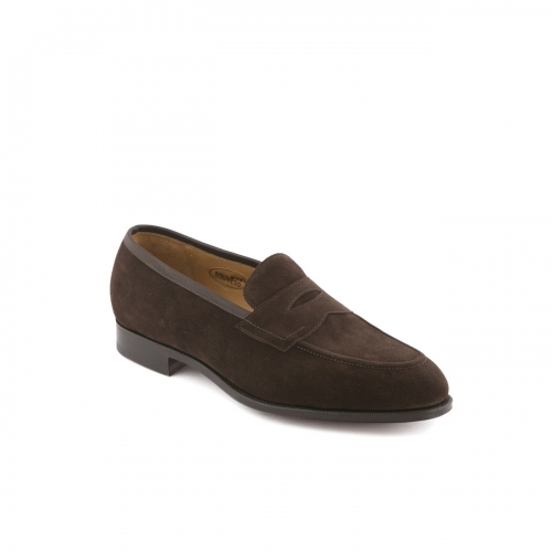 Edward Green Piccadilly loafer in mocca suede with trim