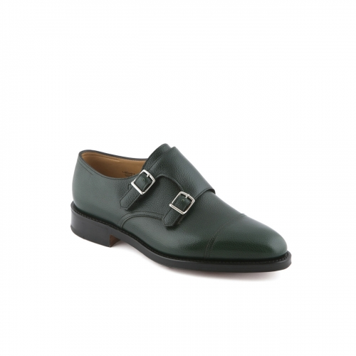 Scarpa con doppia fibbia John Lobb William in pelle Buffalo verde
