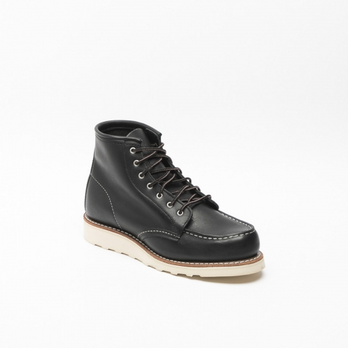 Red Wing Inch Moc laced up woman ankle boots in black leather