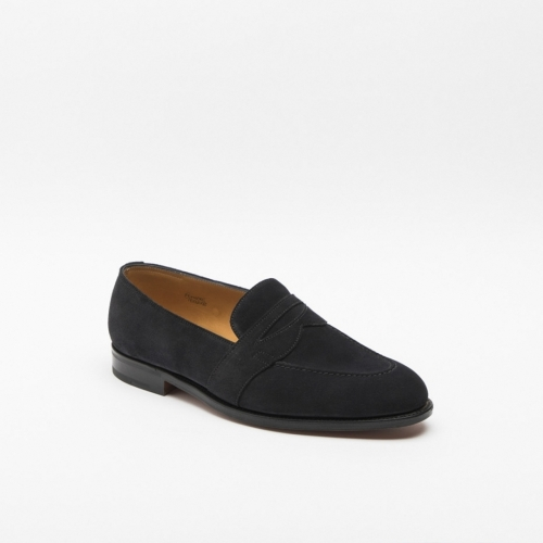 John Lobb Fencote midnight suede loafer with trim