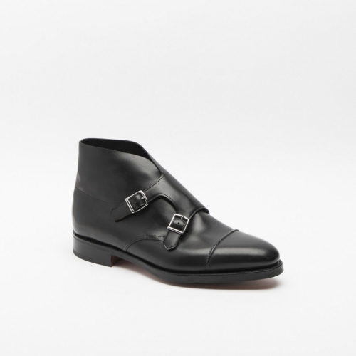 Polacco John Lobb William II in pelle nera con fibbie