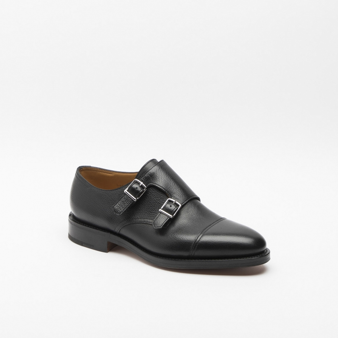 John Lobb William Shoe In Black Buffalo With Double Monk Strap