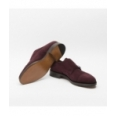 John Lobb William shoe in prune suede with double monk strap