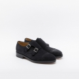 Shoe John Lobb William II fit EE in midnight suede with double buckle