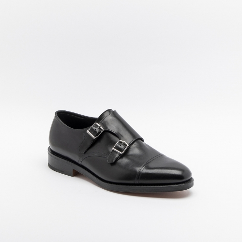 Scarpa John Lobb William fit F/EE in pelle nera con doppia fibbia