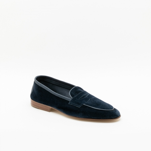 Polperro Edward Green navy baby calf loafer