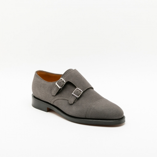 Scarpa con fibbie John Lobb William in camoscio grigio