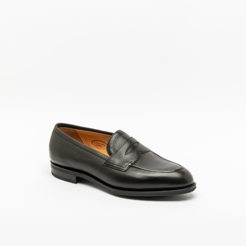 Mocassino Edward Green Piccadilly in pelle martellata nera
