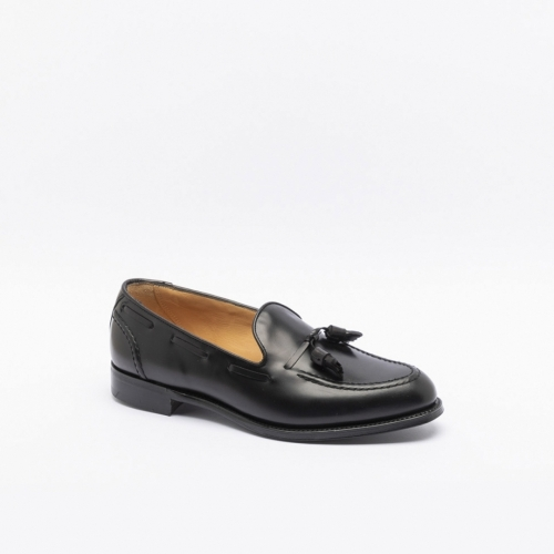 Mocassino Cheaney Harry II in pelle nera con nappine