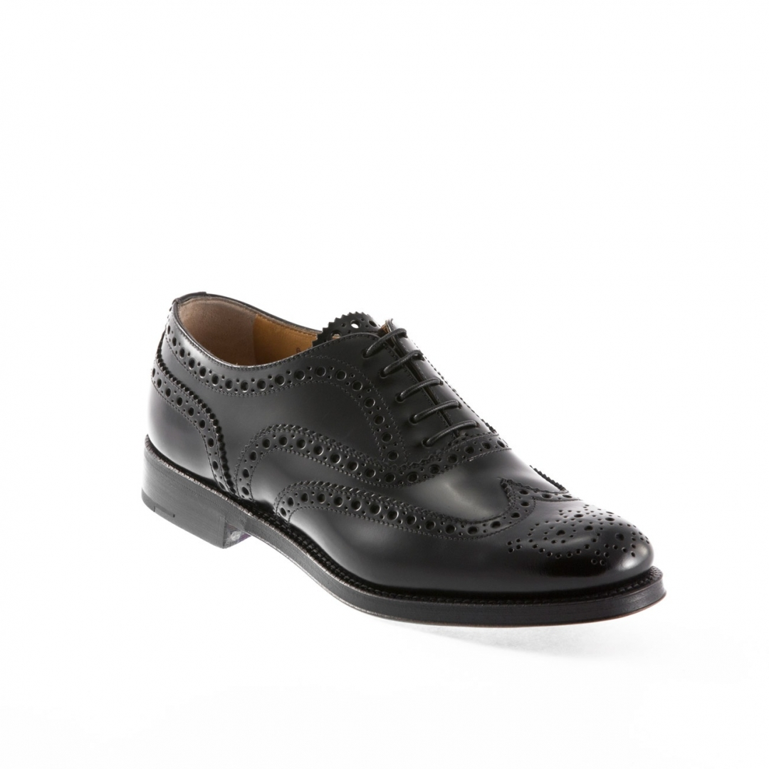 Church S Burwood Lace Up Shoe In Black Leather