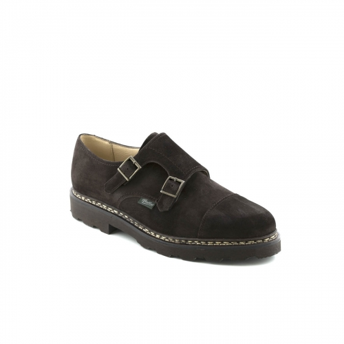 Shoe with double buckle Paraboot William Marche in congo suede