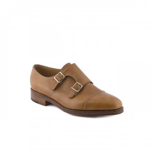 Scarpa John Lobb William II fit EE in pelle misty ardilla con doppia fibbia