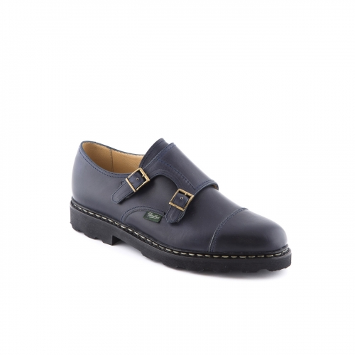 Shoe with double buckle Paraboot William Marche blue night leather