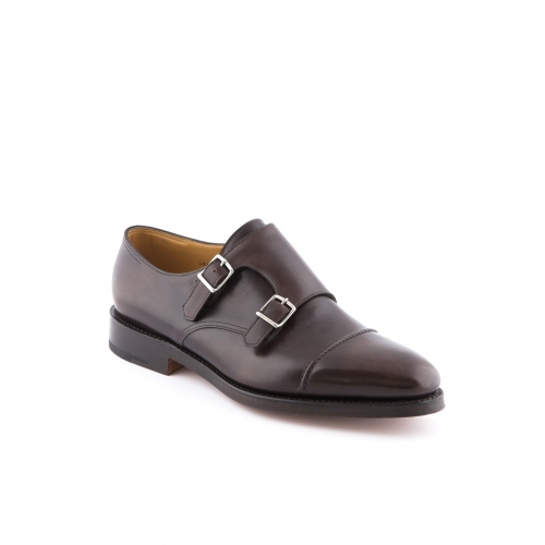 Scarpa John Lobb William II fit EE in pelle misty testa di moro con doppia fibbia