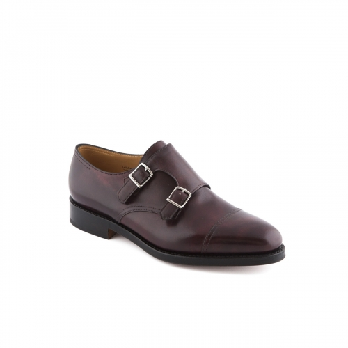 Scarpa John Lobb William fit F in pelle museum plum con doppia fibbia
